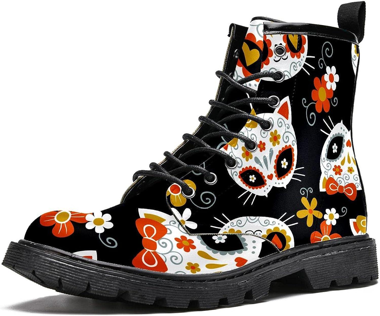 cute cat sugar skulls Women's Stylish Boots High Boo List price Top Hiking Cheap sale