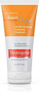 Neutrogena Rapid Clear Oil-Eliminating Foaming Facial Cleanser For Oily and Acne-Prone Skin, Removes Pore-Clogging Dirt and Controls Shine, Oil-Free and Non-Comedogenic, 6 Fl Oz