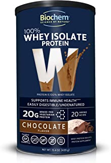 Biochem 100% Whey Isolate Protein - Chocolate - 15.4 oz - 20g of Protein - Meal Replacement -Supports Lean Muscle - Easily...
