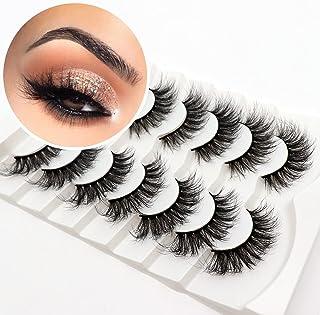 Veleasha False Eyelashes Wispy Faux Mink Lashes Fluffy Handmade Fake Eyelashes 18MM Natural Look 7 Pairs Pack Luxury Cat E...