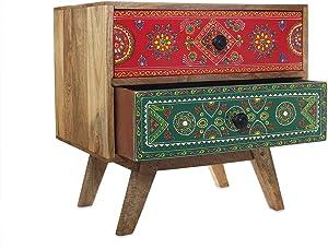 Store Indya, Cassettiera in legno con 2 scomparti armadio con disegno a mano Armadio contenitore di immagazzinaggio Keepsake multiuso per le donne Ragazze Home Decor