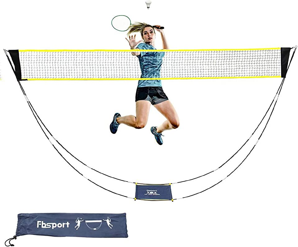 FBSPORT Badminton Net, Foldable Portable Adjustable 3m Badminton Net for Garden, Volleyball Net for Outdoor Indoor Sports, Easy Setup Net with Carry Bag