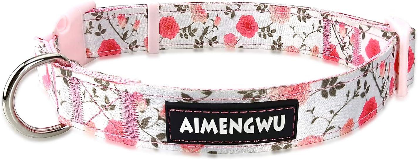 AIMENGWU Dog Collar Floral Nylon Adjustable D Very popular Medium Large Small cheap