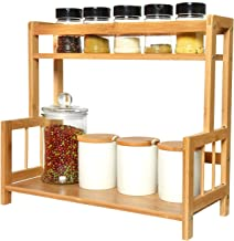 Gonioa Bamboo Spice Rack Storage Shelves, 2-Tier Standing Pantry Shelf for Kitchen Counter, Free Standing Bathroom Accesso...