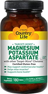 Country Life Target-Mins Magnesium Potassium Aspartate - 180 Tablets - Cardiovascular - Bone Health - Relax Muscles