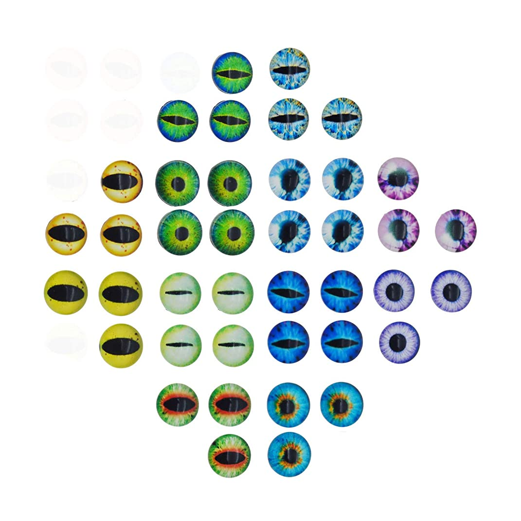 210PCS 12x12MM Round Glass Dragon Cat Eye Cabochon for Doll Animal Eyes Making Or Jewelry Making