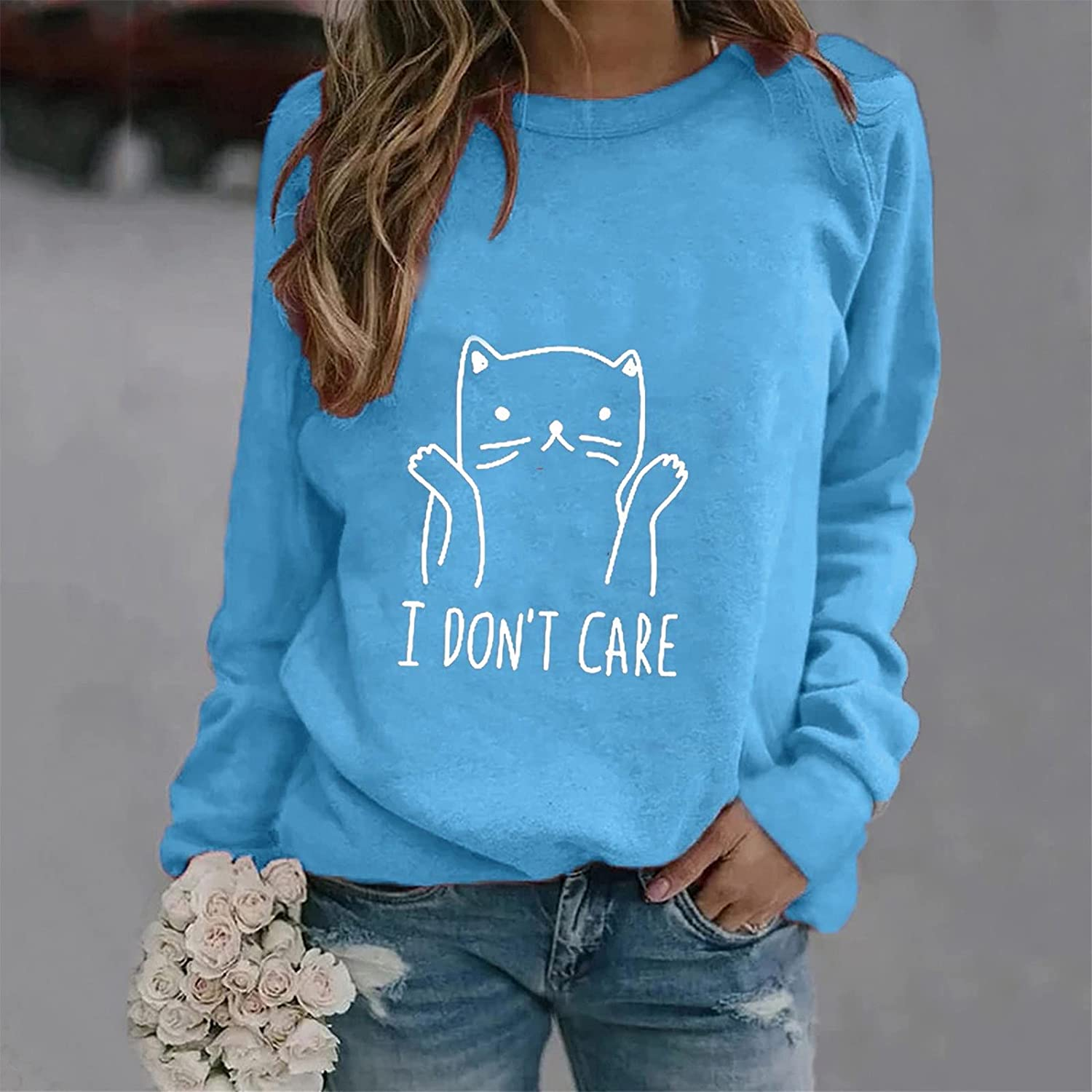 Long Sleeve Shirts for Women, Blouse Casual Long Sleeve Cute Loose Pullover Womens Crewneck Shirts Graphic Fashion Tops