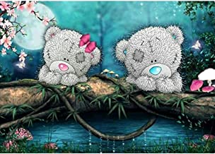 Yeefant Two Little Bear Embroidery Paintings No Fading 5D Canvas Rhinestone Pasted DIY Diamond Cross Stitch Home Wall Decor for Bedroom Living Room,12x16 Inch
