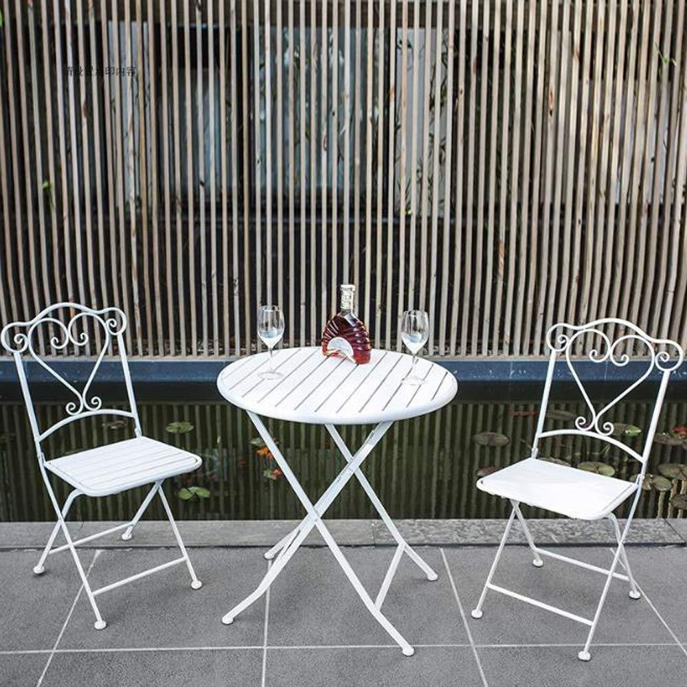 smzzz Conjunto Muebles Terraza, 1 Mesa + 2 Sillas Color Blanco para Jardín, Patio, Terraza: Amazon.es: Deportes y aire libre