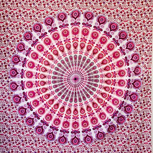 MOMOMUS Tapiz Mandala Bohemio - 100% Algodón, Grande, Multiuso - Pareo/Toalla de Playa Gigante - Alfombra/Manta Antiarena XXL - 210x230 cm Violeta