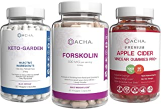 Ultimate Weight Loss Bundle - Forskolin, Ketogarden & Apple Cider Vinegar Gummies, Keto Diet, Detox, Immune Support with G...