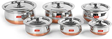 Sumeet Stainless Steel Copper Bottom 6 Pc Handi / Cookware/ Servware Pot Set with Lid 360ML, 500ML, 800ML, 1Ltr, 1.250Ltr, 1.