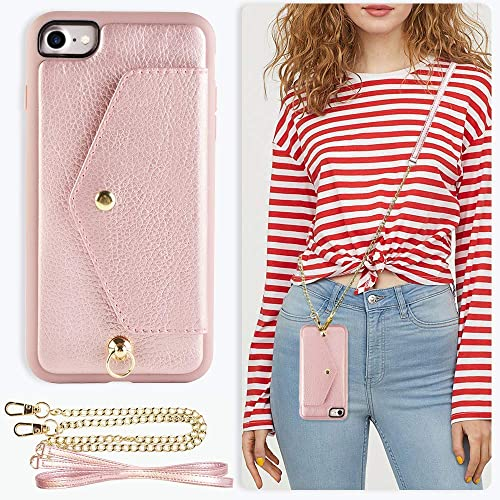 cc331921c0db ZVE Wallet Case for Apple iPhone 8 and iPhone 7, 4.7 inch, Crossbody Chain
