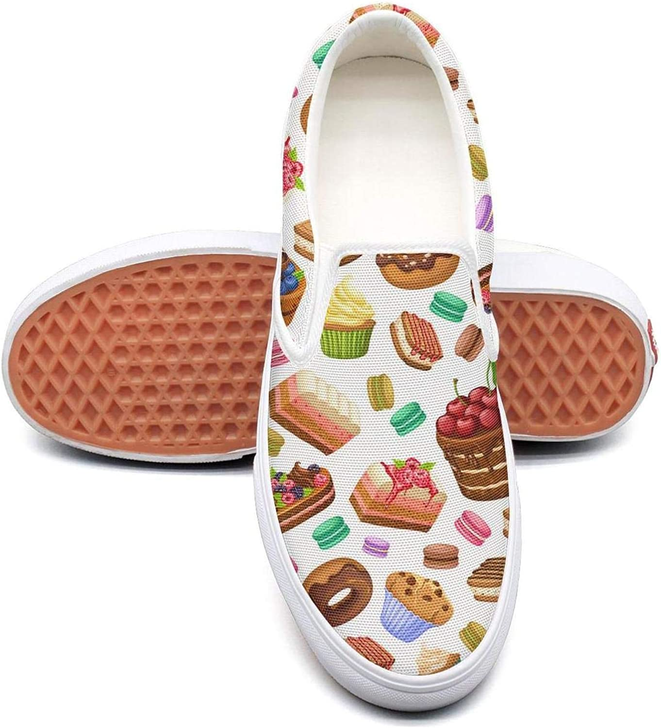 Lalige Cartoon colorful Desserts Brown Donut Cake Women Comfortable Canvas Slip-ONS Walking shoes