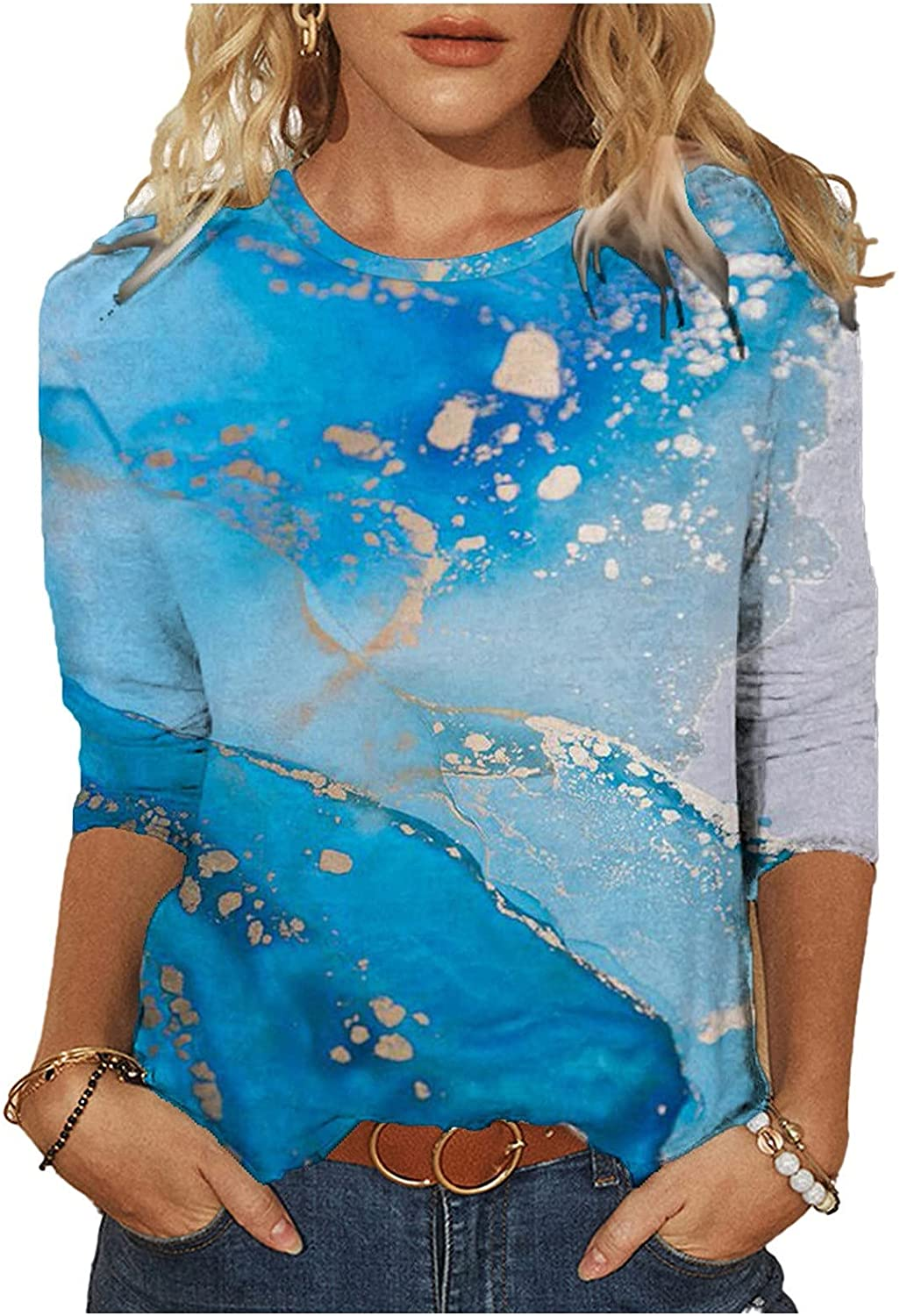 Nulairt 3/4 Sleeve Shirts for Women, Womens Tunic Tops Floral Print T Shirts Crewneck Causal Pullover Blouses Basic Tees