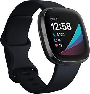Fitbit Sense Advanced Smartwatch with Tools for Heart Health, Stress Management & Skin Temperature Trends, Carbon/Graphite, One Size (S & L Bands Included)