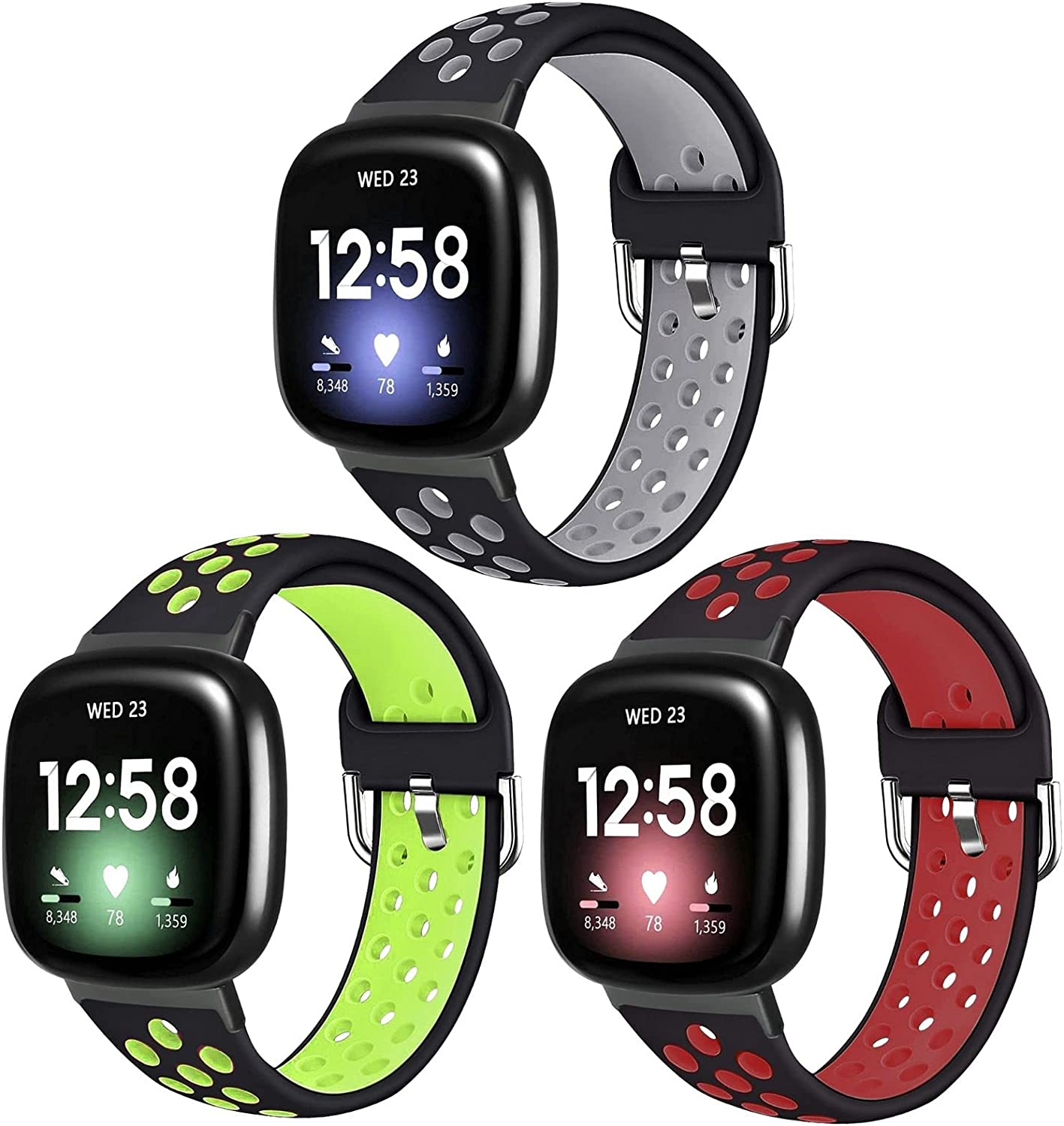 Vanet Compatible with Fitbit Versa 3/Fitbit Sense Bands for Women Men, 3-Pack Sport Band Soft Silicone Breathable Replacement Wristband with Air Holes for Versa 3 Women, Small