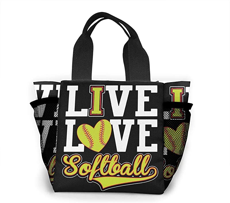 Live Love Softball Polyester Lunch Bag Lunch Box Carry Case Handbags Tote For Kids Nurse Adults Teacher Work Outdoor Travel Picnic