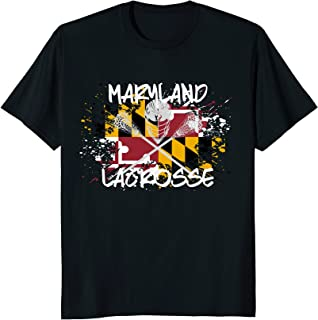 Maryland Lacrosse T-shirt for Dad Sticks Crossed LAX Flag