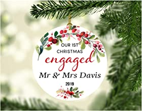 Engagement Announcement Ornament 2019 - Our 1st Christmas Engaged Mr&Mrs Davis - Circle Ceramic Ornament One-sided Design 3