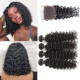 8A Brazilian Deep Wave 4 Bundles with Closure 100% Unprocessed Human Hair Bundles with Closure Short Bob Curly Hair Deep Curly Weave Hair Bundles with 4X4 Free Part Lace Closure Natural Color