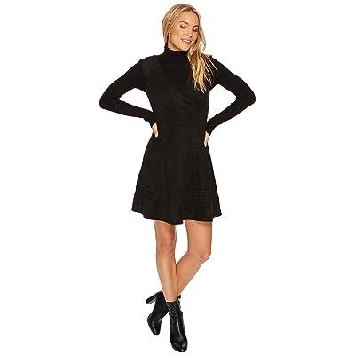 BB Dakota Lynne Faux Suede Fit Flare Dress (Black) Women