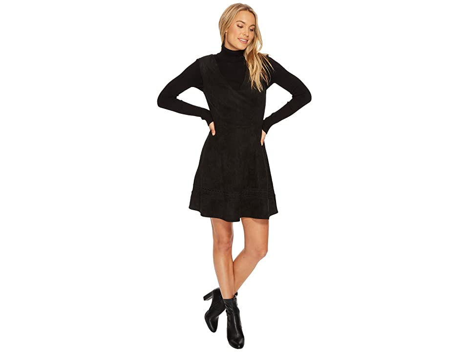 BB Dakota Lynne Faux Suede Fit Flare Dress (Black) Women
