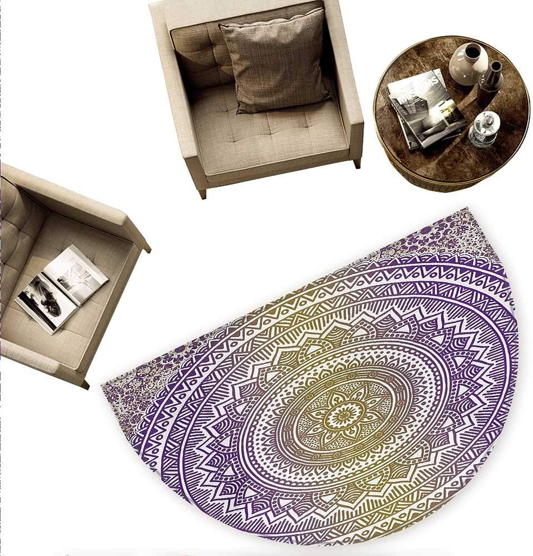 Yellow and Purple Half Round Door mats Mandala Tribal Vintage Ethnic Karma in Cosmos Artsy Ombre Design Bathroom Mat H 78.7  xD 118.1  Mustard and Purple