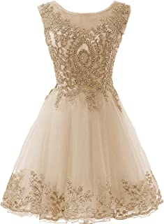 Gold Lace Beaded Homecoming Dresses Short Sequined Appliques Cocktail Prom Gowns H130