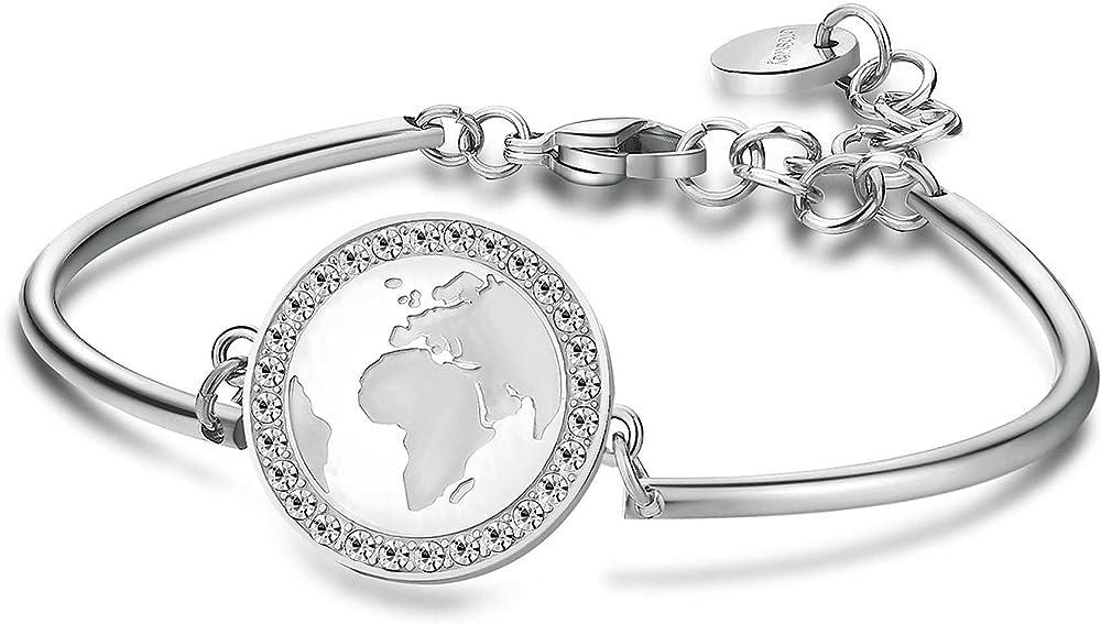 Brosway chakra trendy bracciale per donna in acciaio con piastrina con inciso il globo e cristalli swarovski. BHK85
