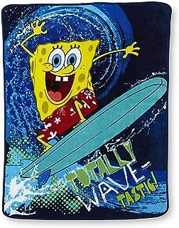 Nickelodeon Spongebob Squarepants Wave Rider Plush Throw Blanket; 46