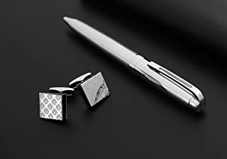 PEN & CUFLLENKS SET FOR MEN SILVER & black cube shape