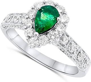 14k White Gold Pear Shape Green Emerald Genuine Gemstone and Diamond Halo Gemstone Ring For Women