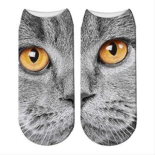 3 Pares Kawaii 3D Printing Cat Face Calcetines Fashion Unisex Cat Pattern Short Socks Harajuku Funny Low Tobillo Calcetín