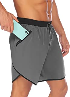 "COOFANDY Men's 7"" Gym Workout Shorts Quick Dry Running Short Pants Bodybuilding Training Athletic Jogger with Zipper Pockets"