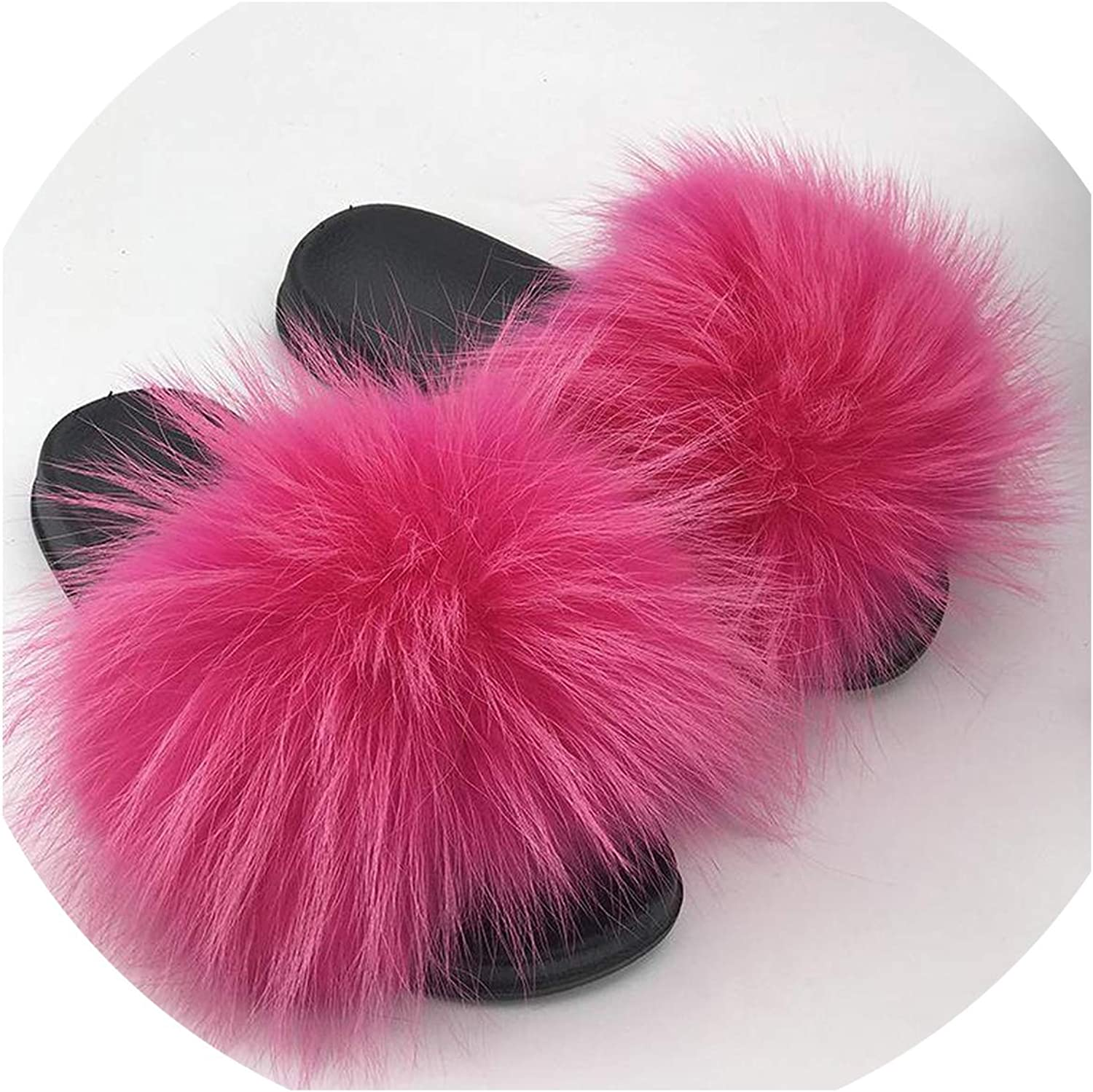 Just XiaoZhouZhou Real Raccoon Fur Slippers Women Sliders Casual Fox Hair Flat Fluffy Fashion Home Summer Big Size 45 Furry Flip Flops shoes,pink Pink red,9.5