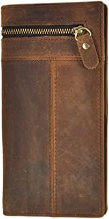 Le'aokuu Men Real Leather Organizer Checkbook Card Case Bifold Wallet with Zipper Pocket (brown)