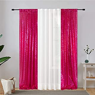 Eternal Beauty 2 PCS Sequin Curtains Hot Pink Sequin Wedding Curtain Backdrop for Christmas Party, Birthday (Hot Pink 3FTx...