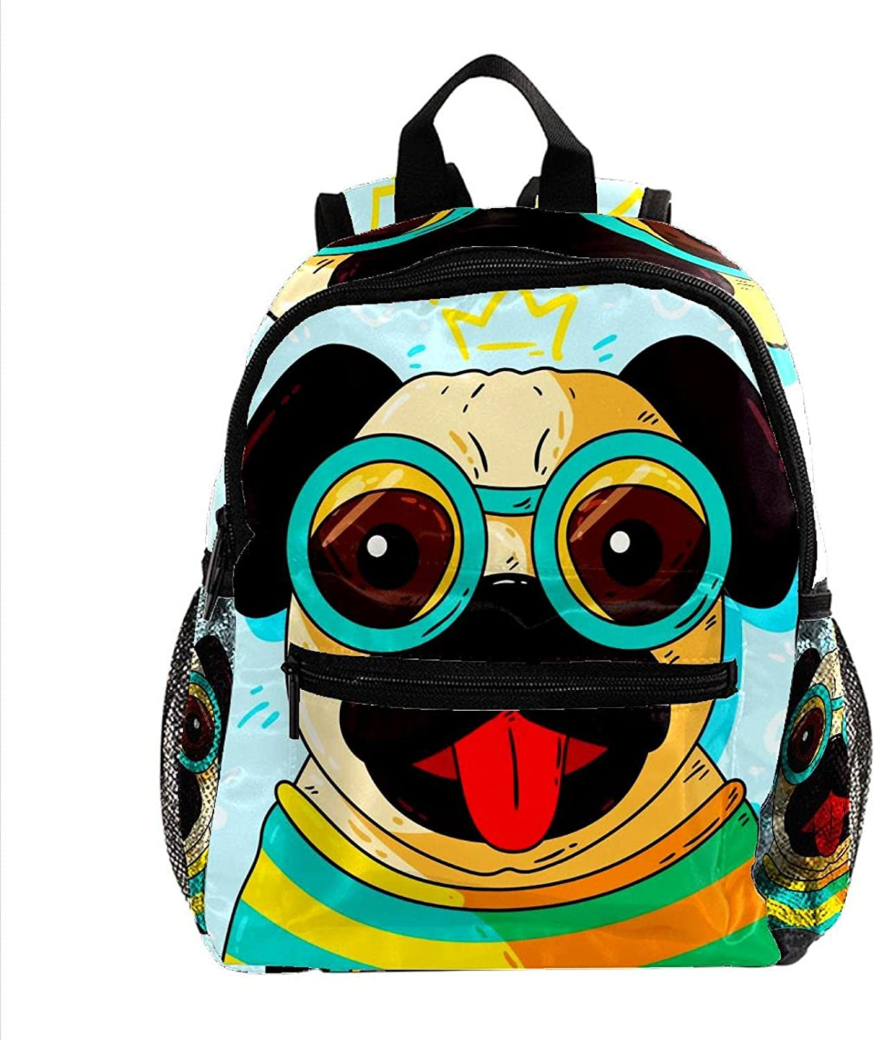 Dog Pug Blue Small Toddler Bookb Daypack School Travel List price Easy-to-use Backpack