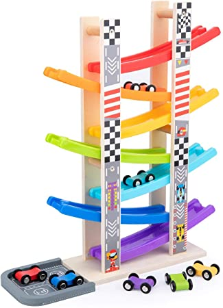 WOOD CITY Toddler Toys for 1 2 3 Years Old, Wooden Car Ramp Racer Toy Vehicle Set with 7 Mini Cars & Race Tracks, Montessori Toys for Toddlers Boys Girls Gift