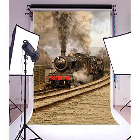 SZZWY 8x8ft Old Steam Locomotove Photography Backdrop Vintage Train Station Photo Studio Background Kid Child Boy Girl Portrait Seamless Photoshoot Props Video Drape Wallpaper