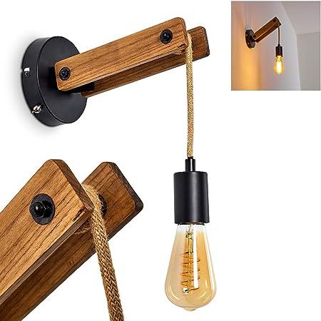 Applique Aarhus en bois clair, corde et métal noir, lampe murale pendante vintage idéale dans un salon rétro, avec interrupteur sur le socle, pour 1 ampoule E27 max. 60 Watt, compatible LED