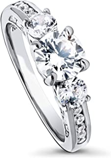 Rhodium Plated Sterling Silver Round Cubic Zirconia CZ 3-Stone Anniversary Promise Engagement Ring 1.73 CTW