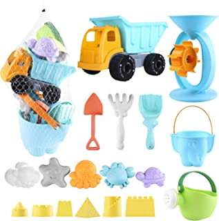 Biulotter 20Pcs Kids Beach Sand Toys Set Sand Water Wheel, Castle Molds, Truck Bucket, Beach Shovels RakesTool Kit, Hourglass, Sea Animal Molds, Watering Can, Cloud, with Mesh Backpack Sandbox