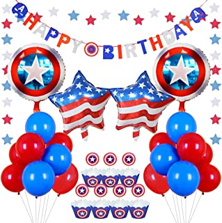Kreatwow Red White Blue Party Decorations Shield Balloons Cupcake Toppers Wrappers for Birthday Party Decorations