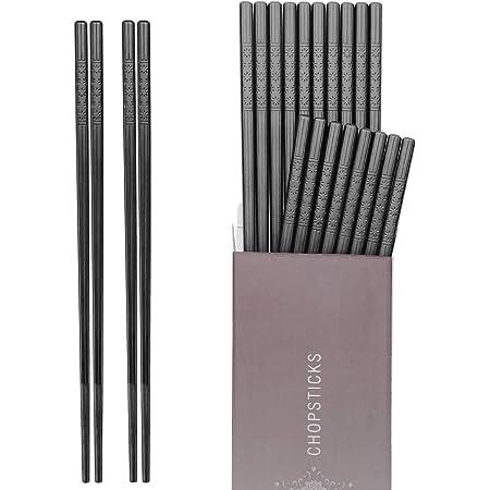 Hiware 10 Pairs Fiberglass Chopsticks - Reusable Chopsticks Dishwasher Safe, 9 1/2 Inches - Black
