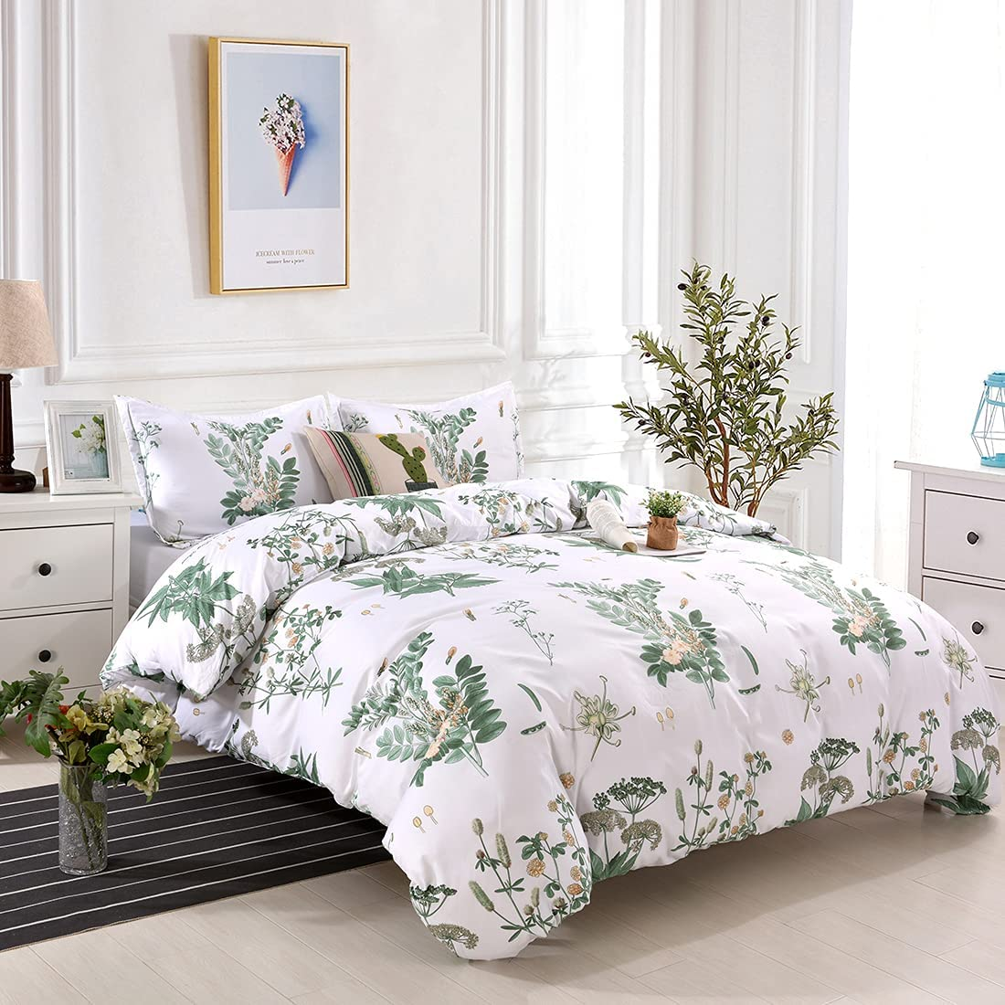 YMY Lightweight Microfiber Bedding Duvet Weekly update Max 81% OFF Floral Cover Print Set