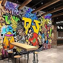JJLEZlBZ 3D Wallpaper Modern Street Cartoon Letters Graffiti Bar Ktv Living Room Decoration Wall Decoration Mural Wallpaper Art@200140Cm