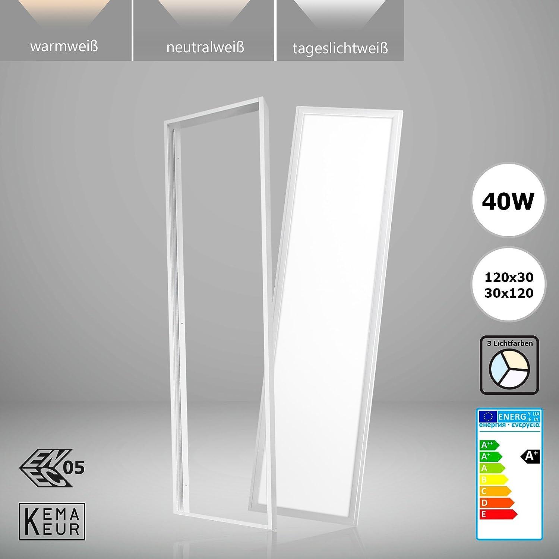 Sparpreis Xtend PLs2.1 LED Panel 120x30 30x120 40W Lichtfarbe umschaltbar warmwei neutralwei tageslichtwei inkl. Aufputz-Montagerahmen ENEC zertifiziert Deckenleuchte