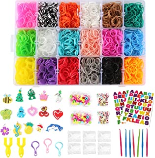 Loom Rubber Bands Refill Kit,370 Clips,110 Décor Beads,15 Charms,7 Crochet Hooks,3 Gadgets Hooks,92 Rainbow ABC Stickers,2 Y Looms,7900+ Organizer Gift Set for Xmas Halloween Thanksgiving